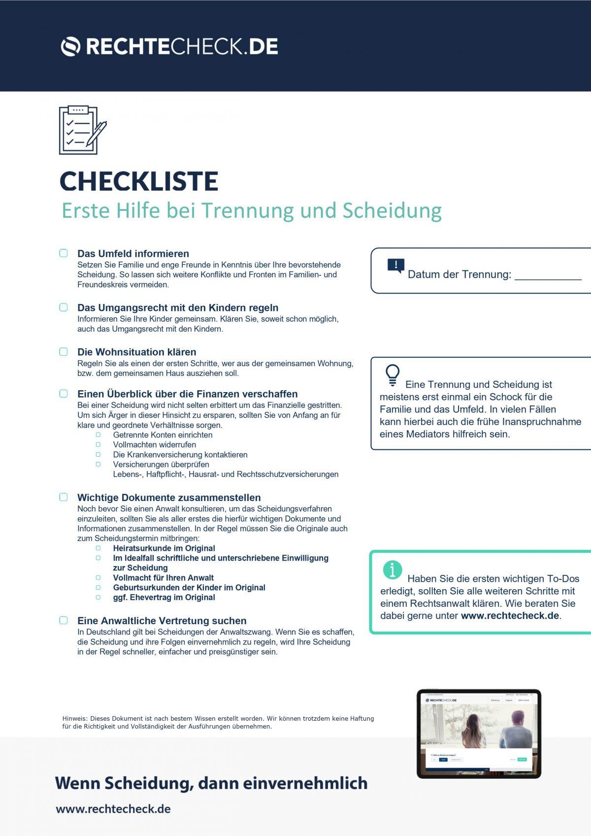 Checkliste: Erste Hilfe bei Scheidungen