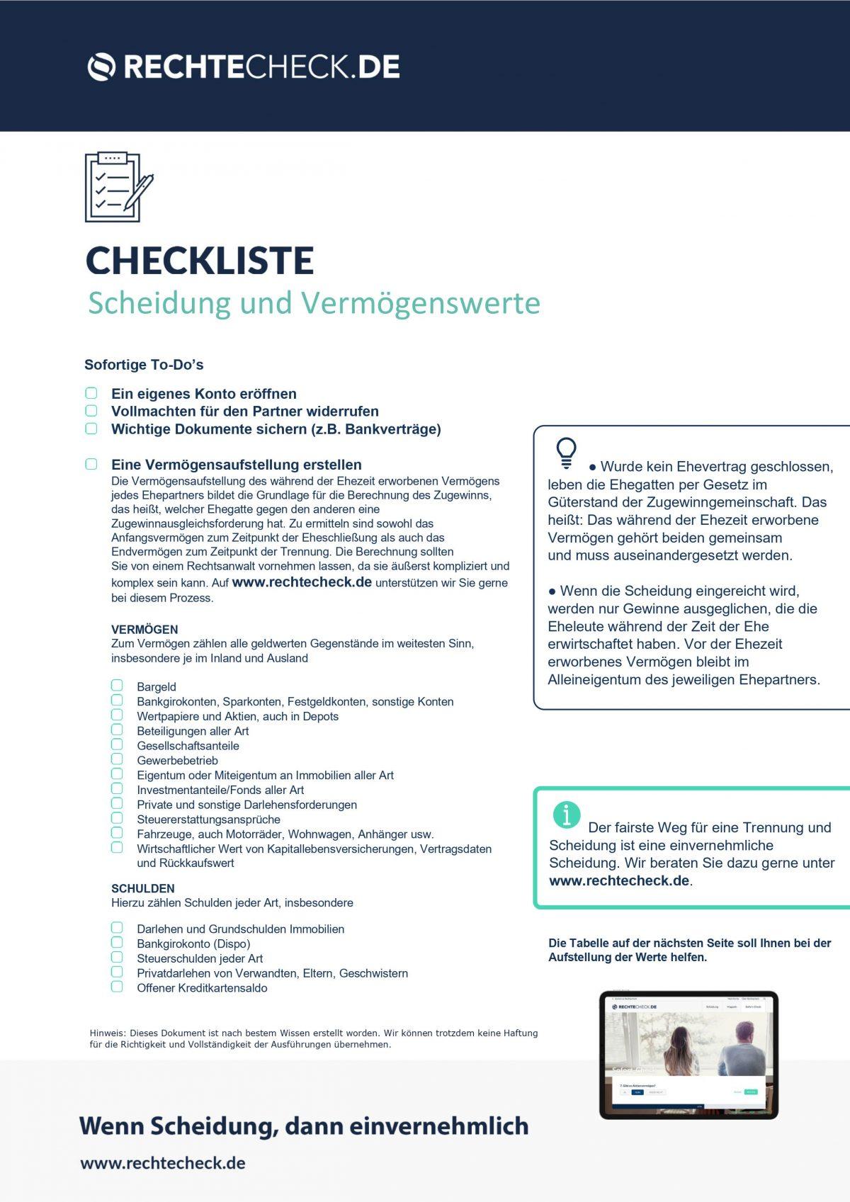 Checkliste: Scheidung und Vermögenswerte