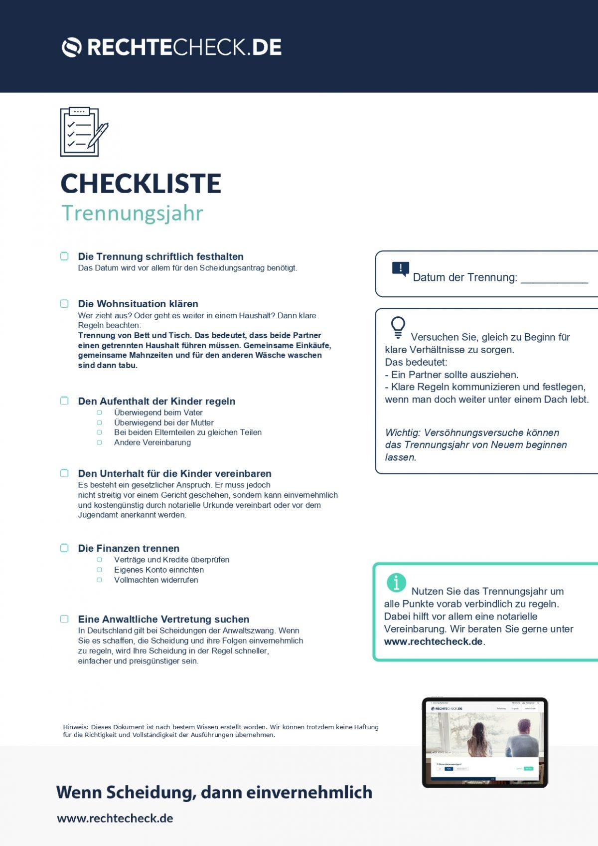 Checkliste: Trennungsjahr
