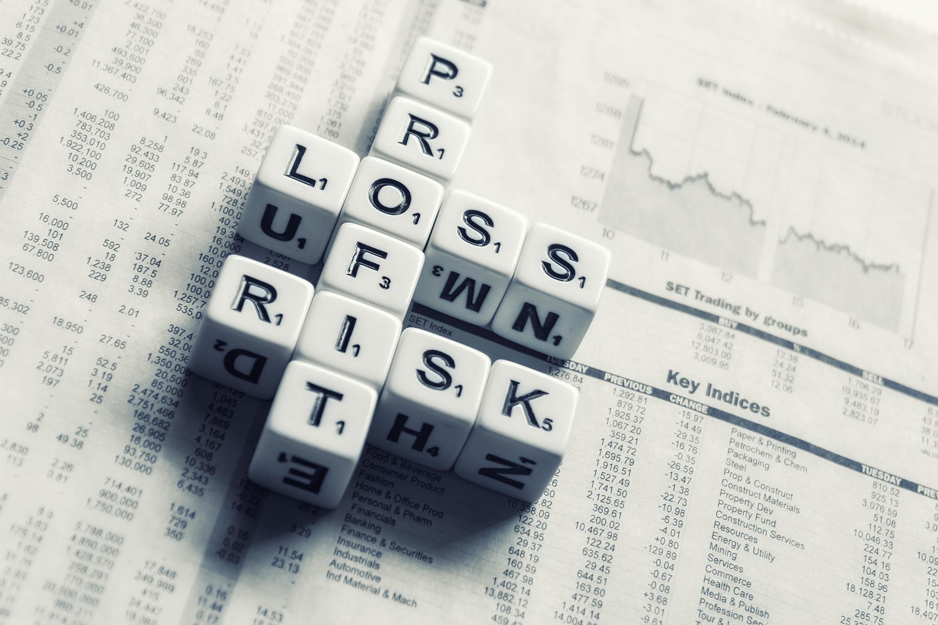 Zwölf Würfel, die auf dem Wirtschaftsteil einer Zeitung liegen. Die Wörter Profit, Risk und Loss wurden aus diesen Würfeln gebildet.
